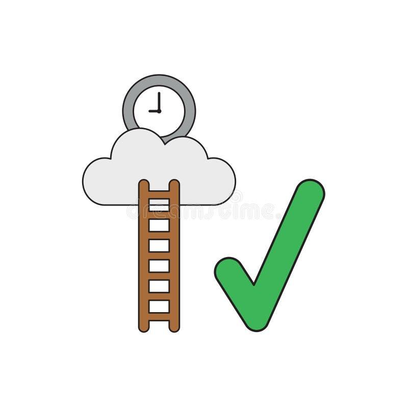 Διανυσματική έννοια εικονιδίων του χρόνου ρολογιών στο σύννεφο με το ξύλινο σημάδι σκαλών και ελέγχου ελεύθερη απεικόνιση δικαιώματος