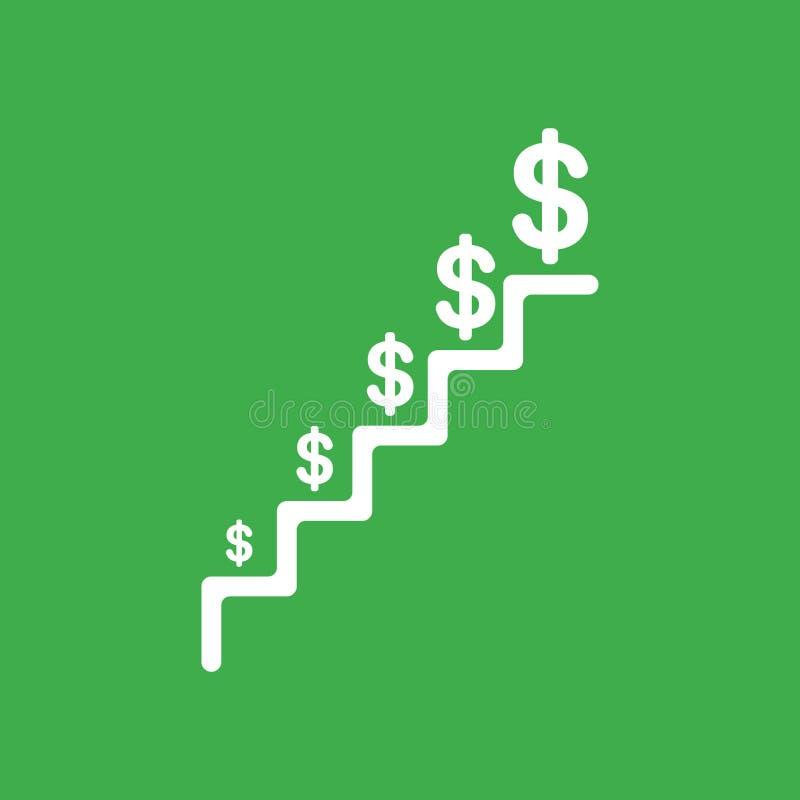 Διανυσματική έννοια εικονιδίων των σκαλοπατιών με τα δολάρια που αυξάνεται στην πράσινη πλάτη ελεύθερη απεικόνιση δικαιώματος