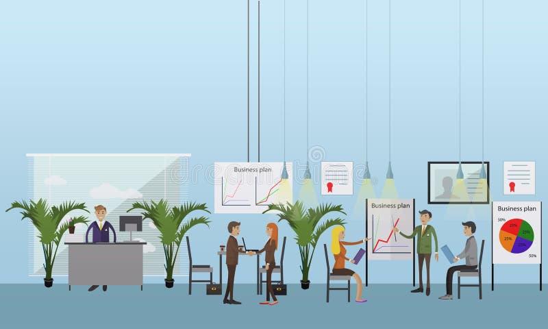 Διανυσματική έννοια εμβλημάτων με τις επιχειρησιακές παρουσιάσεις και τις συνεδριάσεις Επίπεδο σχέδιο των εργαζομένων γραφείων απεικόνιση αποθεμάτων