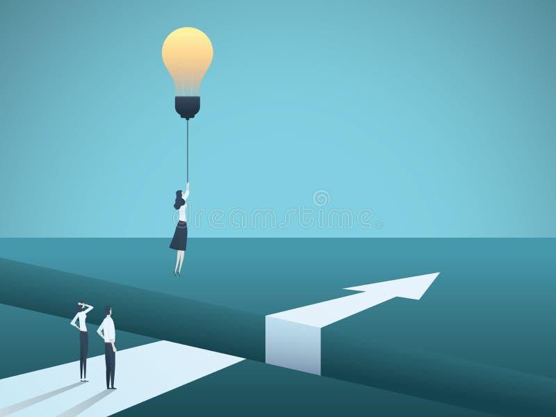 Διανυσματική έννοια επιχειρησιακής δημιουργικότητας με το πέταγμα γυναικών με το lightbulb Σύμβολο της δημιουργικής λύσης, σημαντ απεικόνιση αποθεμάτων