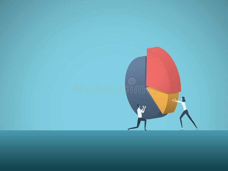 Διανυσματική έννοια επιχειρησιακής ομαδικής εργασίας με τον επιχειρηματία και τη επιχειρηματία που βάζουν μαζί το διάγραμμα πιτών διανυσματική απεικόνιση