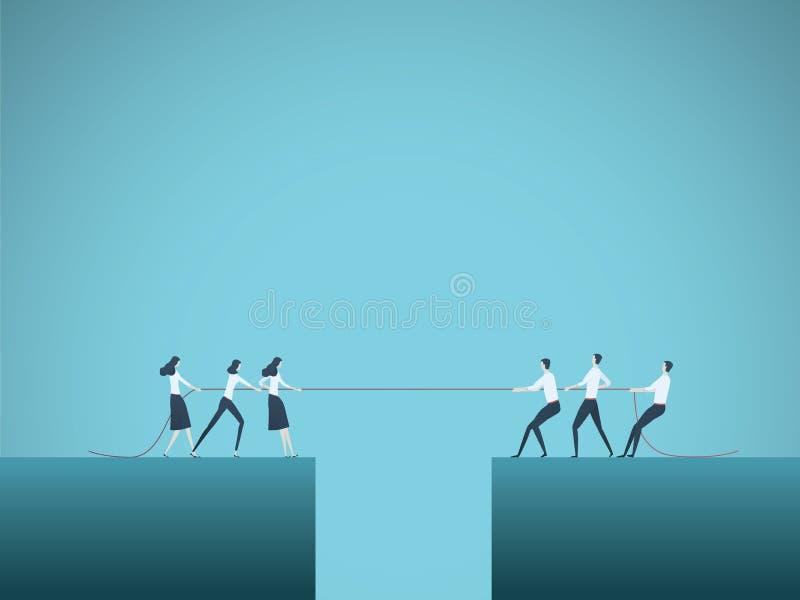 Διανυσματική έννοια επιχειρησιακού ανταγωνισμού με τις ομάδες στη σύγκρουση που τραβούν το σχοινί πέρα από το χάσμα, άβυσσος Σύμβ ελεύθερη απεικόνιση δικαιώματος