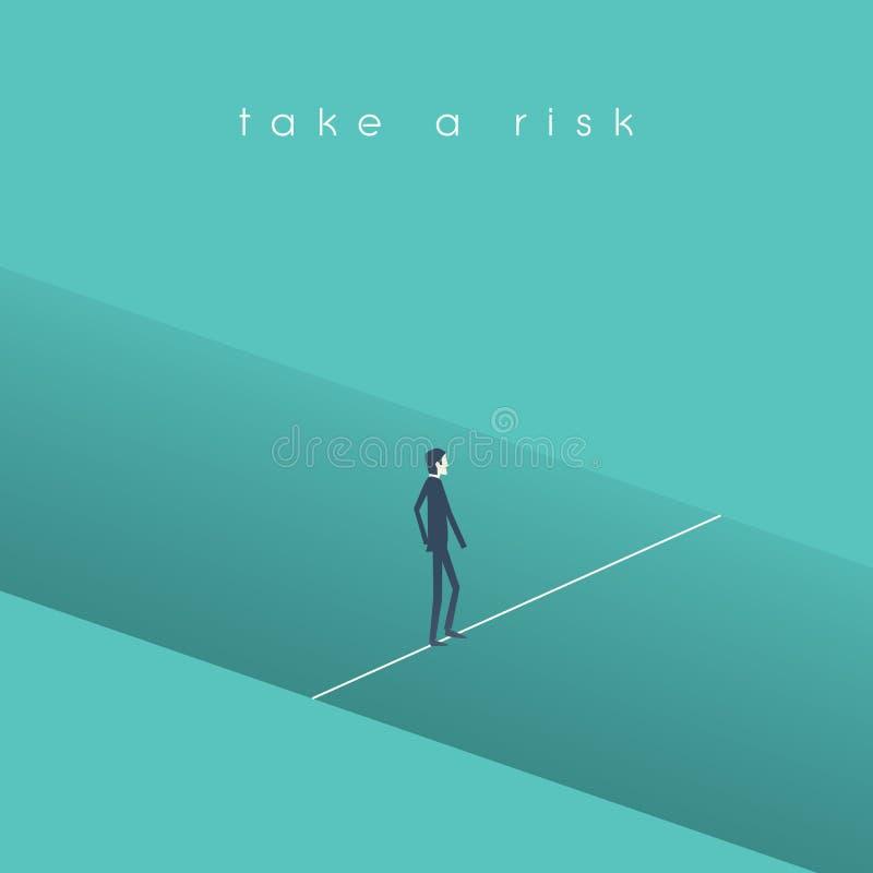 Διανυσματική έννοια επιχειρησιακού κινδύνου με το περπάτημα επιχειρηματιών πέρα από την τρύπα σε ένα σχοινί γραμμών Σύμβολο της ε ελεύθερη απεικόνιση δικαιώματος