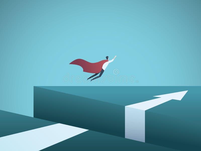 Διανυσματική έννοια επιχειρησιακού superhero με το πέταγμα επιχειρηματιών πέρα από το χάσμα Σύμβολο της υπερνίκησης των προκλήσεω απεικόνιση αποθεμάτων