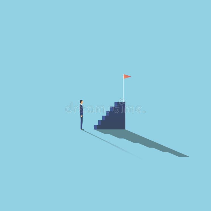 Διανυσματική έννοια επιχειρησιακών κινήτρου και φιλοδοξίας με τον επιχειρηματία μπροστά από τα σκαλοπάτια Σύμβολο του προγραμματι απεικόνιση αποθεμάτων