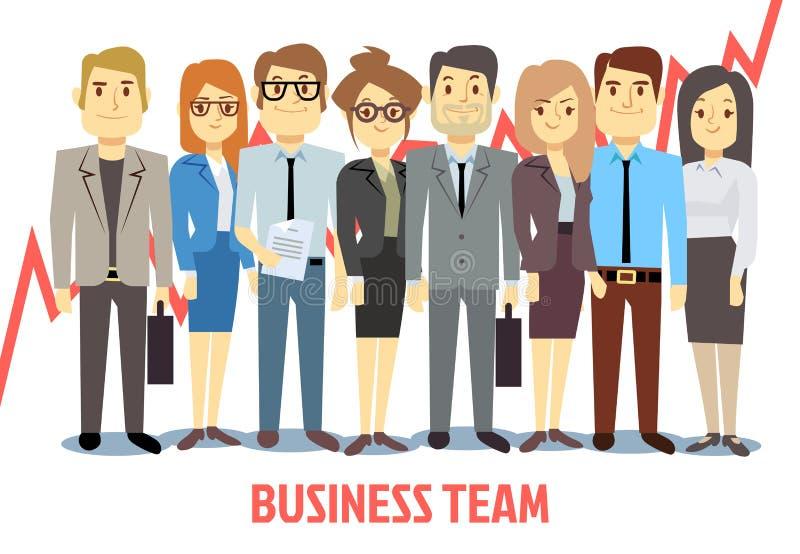 Διανυσματική έννοια επιχειρησιακών ομάδων με τον άνδρα και τη γυναίκα που στέκονται από κοινού Κινούμενα σχέδια ομαδικής εργασίας διανυσματική απεικόνιση