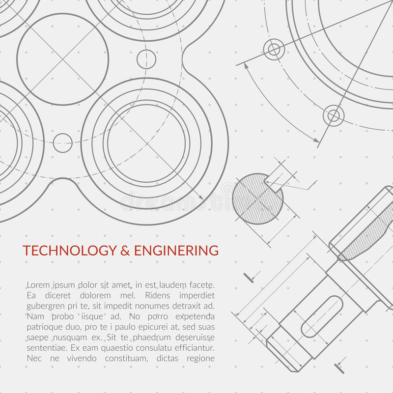 Διανυσματική έννοια εφαρμοσμένης μηχανικής με μέρος του τεχνικού σχεδίου μηχανημάτων διανυσματική απεικόνιση