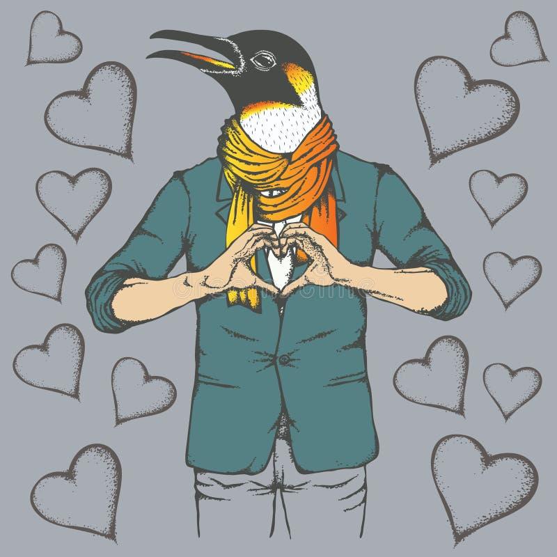Διανυσματική έννοια ημέρας βαλεντίνων Penguin ελεύθερη απεικόνιση δικαιώματος