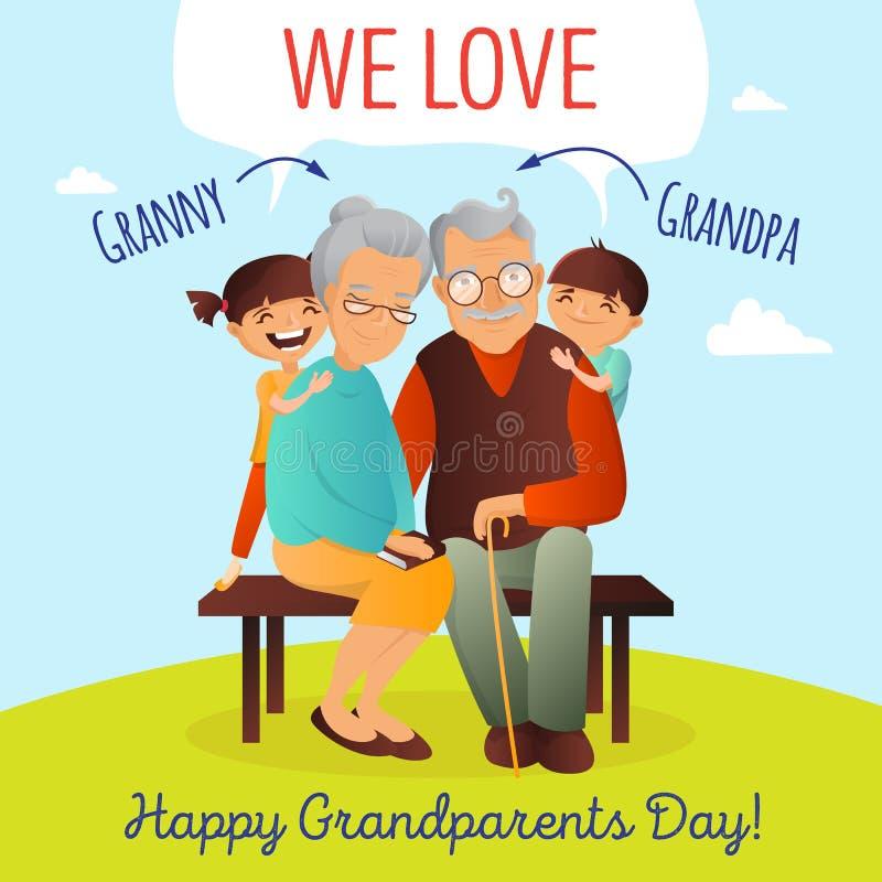 Διανυσματική έννοια ημέρας παππούδων και γιαγιάδων Απεικόνιση με την ευτυχή οικογένεια Παππούς, γιαγιά και εγγόνια διανυσματική απεικόνιση