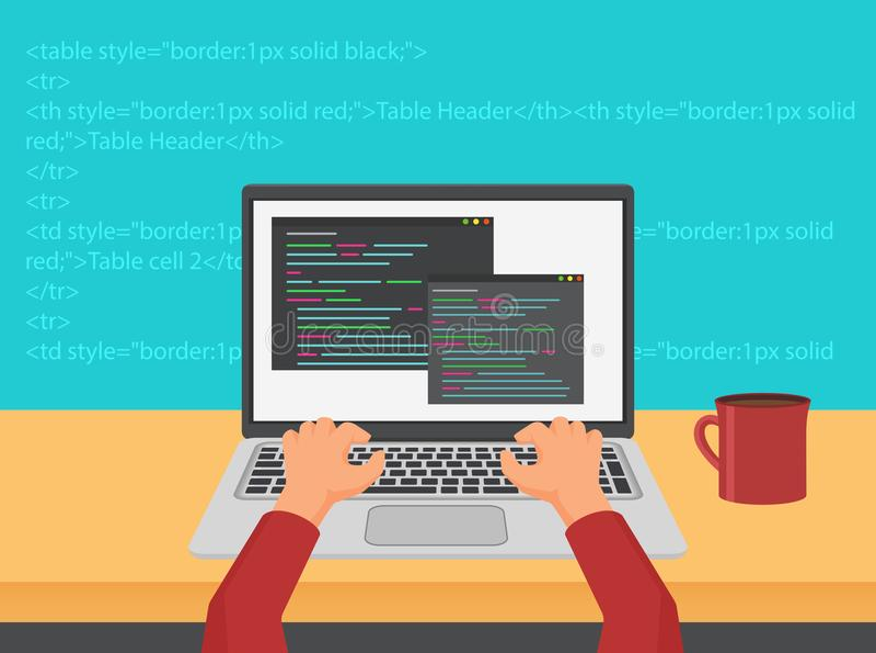 Διανυσματική έννοια κώδικα προγραμματισμού, κωδικοποίησης και ανάπτυξης Ιστού ελεύθερη απεικόνιση δικαιώματος