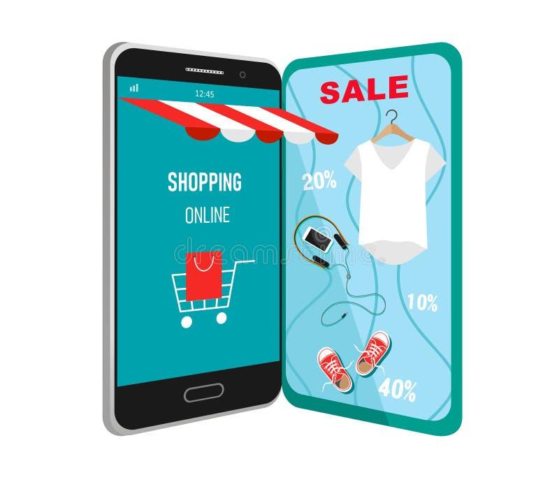 Διανυσματική έννοια που ψωνίζει on-line στον ιστοχώρο ή την κινητή εφαρμογή Επιχείρηση και ψηφιακό μάρκετινγκ στοκ φωτογραφία με δικαίωμα ελεύθερης χρήσης