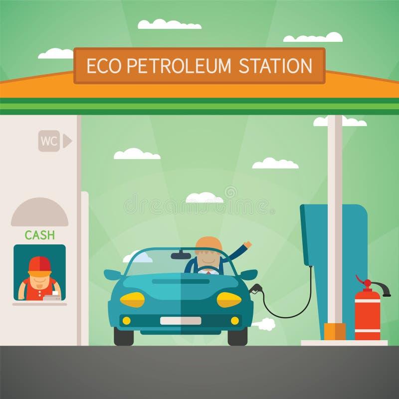 Διανυσματική έννοια πρατηρίων καυσίμων καυσίμων Eco απεικόνιση αποθεμάτων