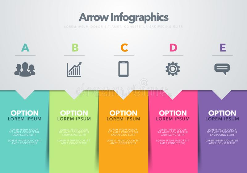 Διανυσματική έννοια προτύπων σχεδίου απεικόνισης σύγχρονη infographic του επιχειρησιακού προτύπου βελών με πέντε διαδοχικά βήματα απεικόνιση αποθεμάτων