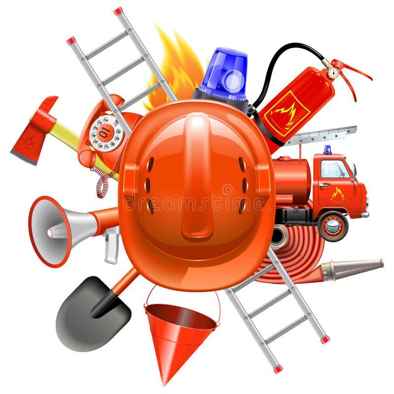 Διανυσματική έννοια πρόληψης πυρκαγιάς με το κράνος ελεύθερη απεικόνιση δικαιώματος