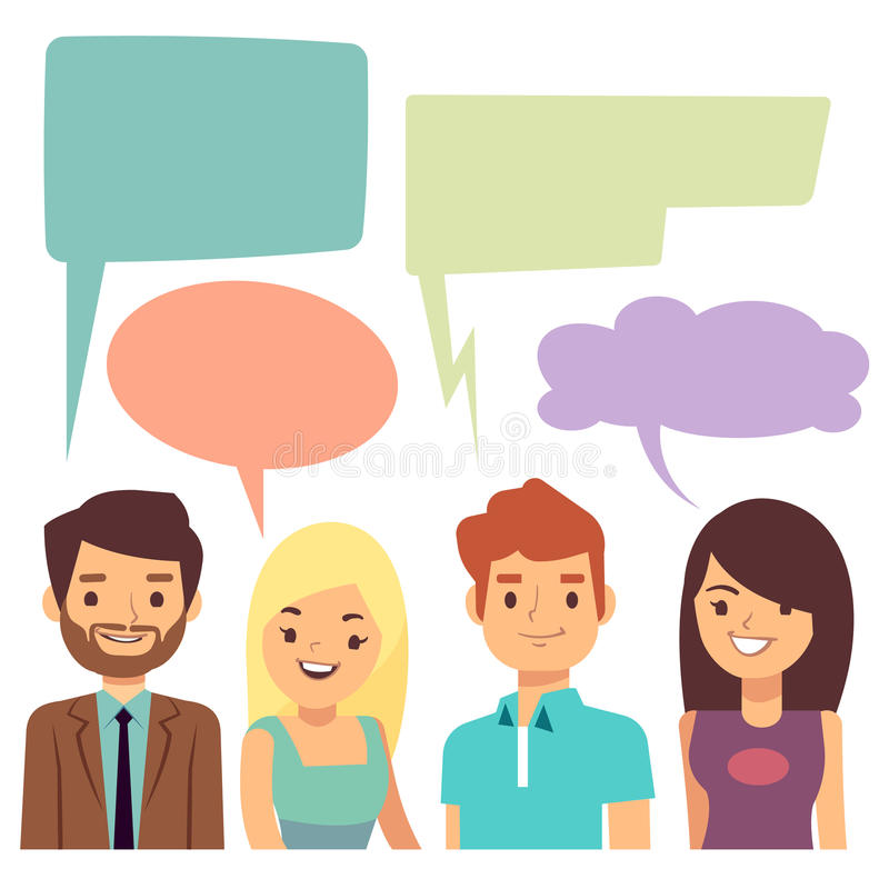Διανυσματική έννοια συνομιλίας με τους ανθρώπους και τις κενές φυσαλίδες σκέψης απεικόνιση αποθεμάτων