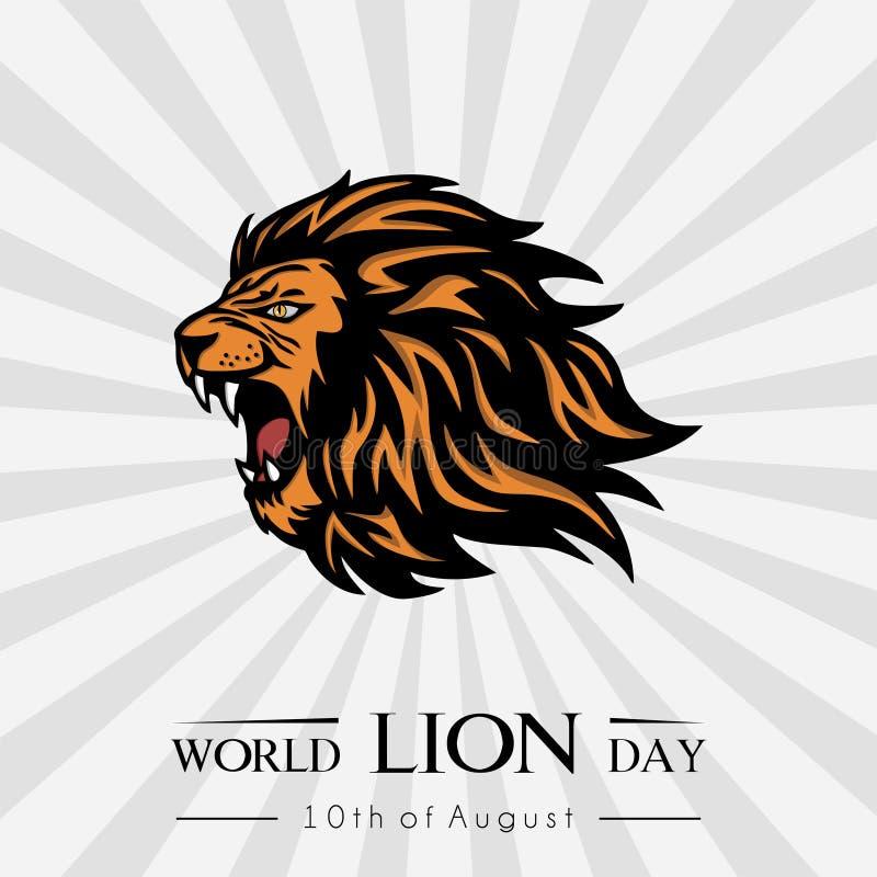 Διανυσματική έννοια σχεδίου εικονιδίων ημέρας παγκόσμιων λιονταριών στοκ εικόνες
