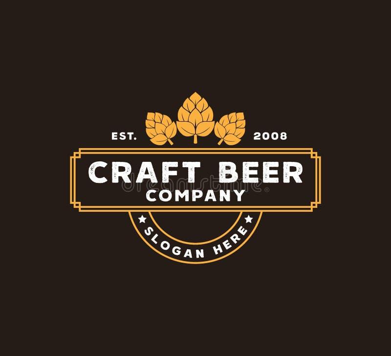 διανυσματική έννοια σχεδίου λογότυπων επιχείρησης παρασκευής μπύρας τεχνών στο καφετί υπόβαθρο διανυσματική απεικόνιση