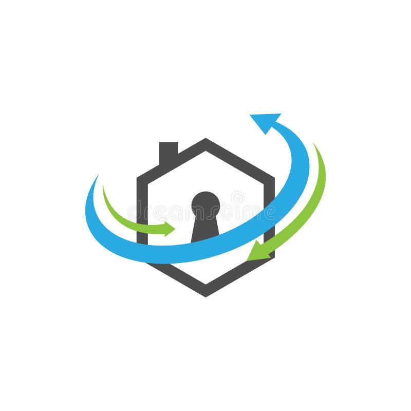 Διανυσματική έννοια σχεδίου λογότυπων προστασίας ασφάλειας Realty απεικόνιση αποθεμάτων