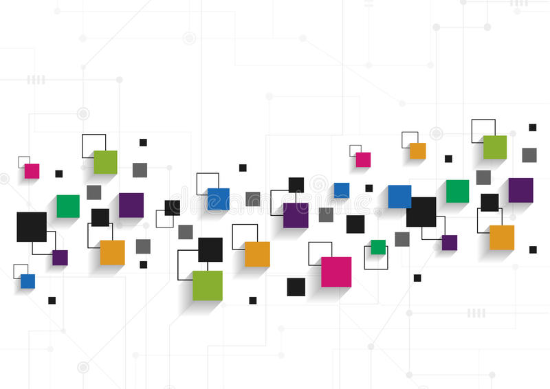 Διανυσματική έννοια τεχνολογίας Συνδεδεμένα γραμμές και τετράγωνα στοκ φωτογραφία