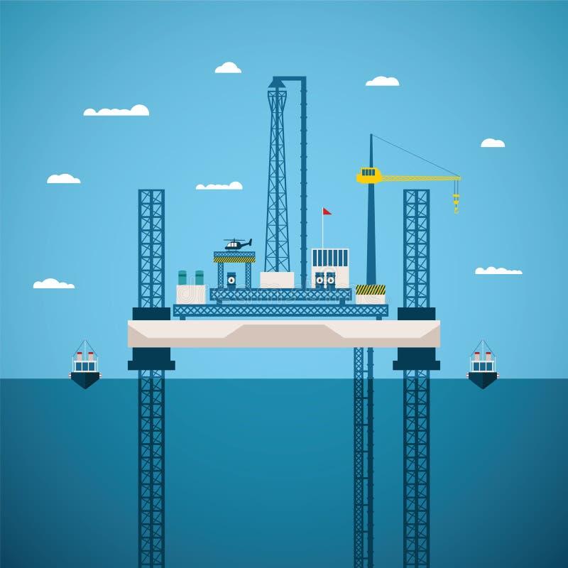 Διανυσματική έννοια της ανοικτής θαλάσσης βιομηχανίας πετρελαίου και φυσικού αερίου ελεύθερη απεικόνιση δικαιώματος