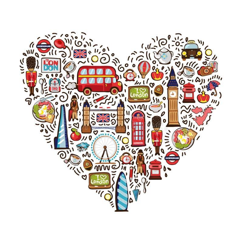 Διανυσματική έννοια της διακινούμενης doodles συλλογής στοιχείων πόλεων του Λονδίνου στη μορφή καρδιών Συρμένο χέρι σύνολο ταξιδι ελεύθερη απεικόνιση δικαιώματος