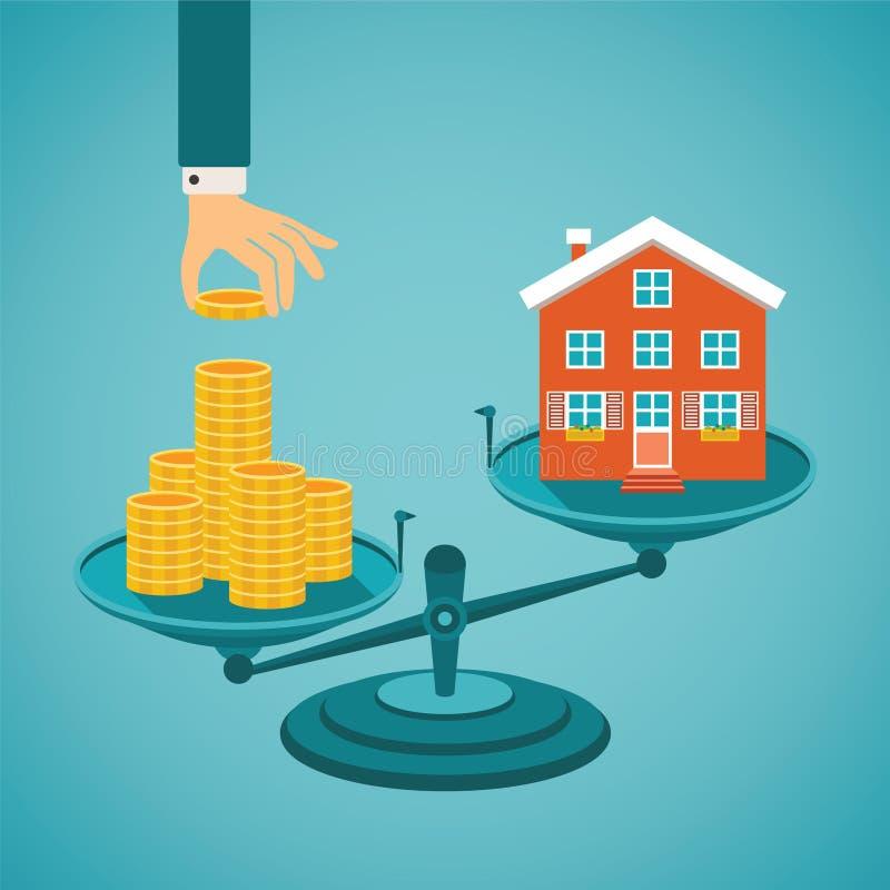 Διανυσματική έννοια της επένδυσης στην ακίνητη περιουσία διανυσματική απεικόνιση