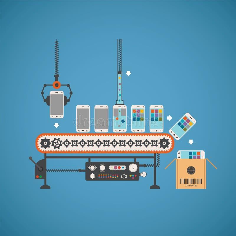 Διανυσματική έννοια της παραγωγής υλικού και λογισμικού με τα smartphones στη γραμμή μεταφορέων απεικόνιση αποθεμάτων