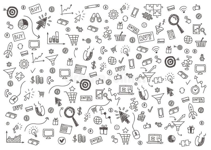 Διανυσματική έννοια του μάρκετινγκ Διαδικτύου και της σε απευθείας σύνδεση επιχείρησης διανυσματική απεικόνιση