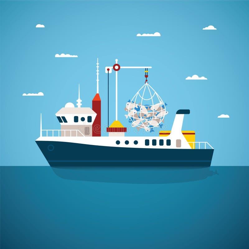 Διανυσματική έννοια του ωκεανού ποταμών και της βάρκας θαλάσσιου ψαρέματος ελεύθερη απεικόνιση δικαιώματος