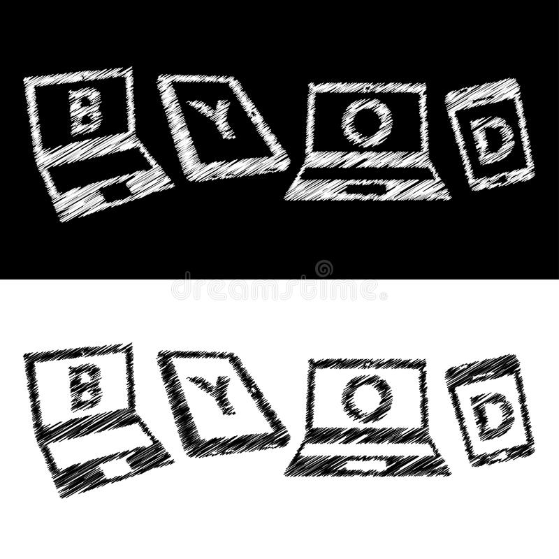 Διανυσματική έννοια «BYOD» ελεύθερη απεικόνιση δικαιώματος