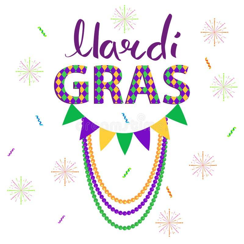 Διανυσματική έννοια Gras καρναβάλι Magri με τις γιρλάντες απεικόνιση αποθεμάτων