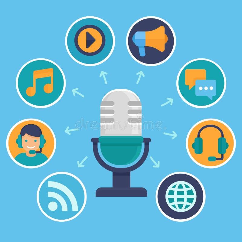 Διανυσματική έννοια podcast στο επίπεδο ύφος απεικόνιση αποθεμάτων