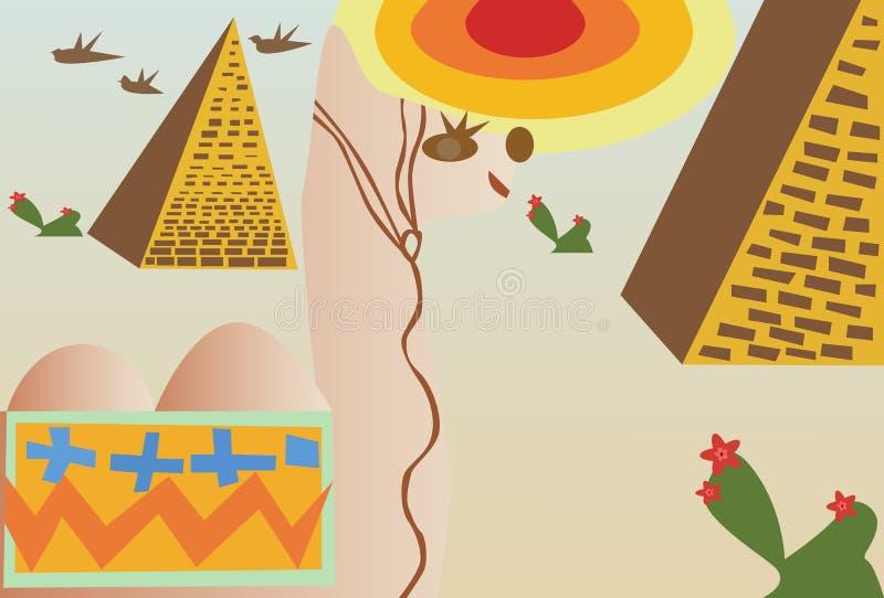 Διανυσματική έρημος με την καμήλα διανυσματική απεικόνιση
