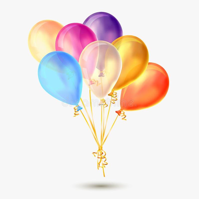 Διανυσματική δέσμη των διαφανών ζωηρόχρωμων μπαλονιών στο άσπρο υπόβαθρο ελεύθερη απεικόνιση δικαιώματος