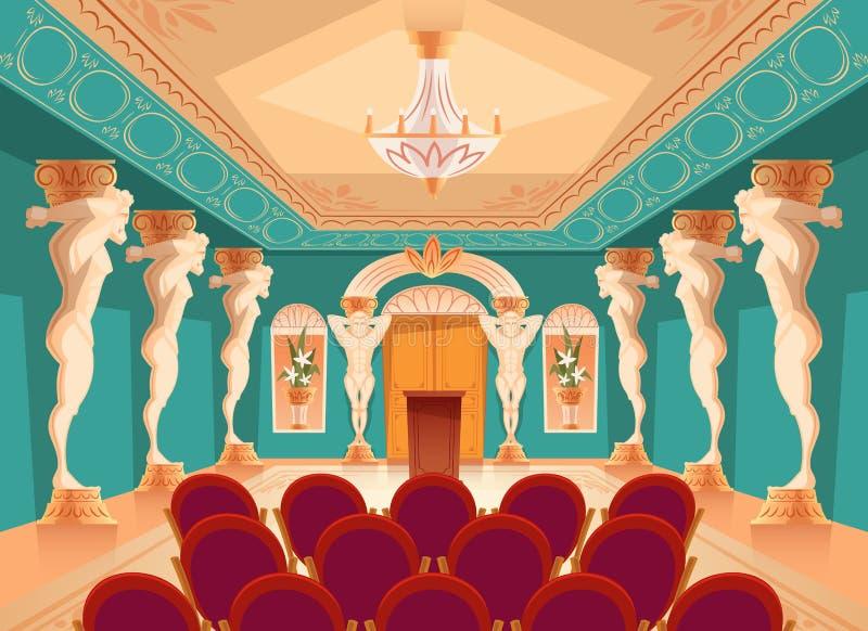 Διανυσματική αίθουσα ακροατηρίων με τις στήλες ατλάντων, πολυθρόνες ελεύθερη απεικόνιση δικαιώματος