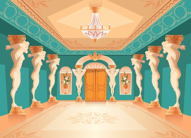 Διανυσματική αίθουσα με τις στήλες ατλάντων, εσωτερικό αιθουσών χορού απεικόνιση αποθεμάτων