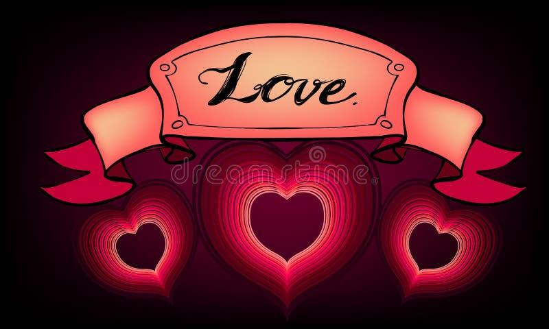Διανυσματική αγάπη ευχετήριων καρτών ημέρας βαλεντίνων απεικόνισης στοκ φωτογραφίες