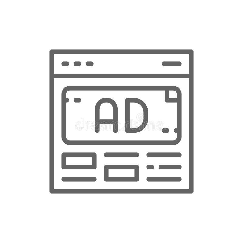 Διανυσματική αγγελία, διαφήμιση, μέσα που εμπορεύεται το εικονίδιο γραμμών απεικόνιση αποθεμάτων