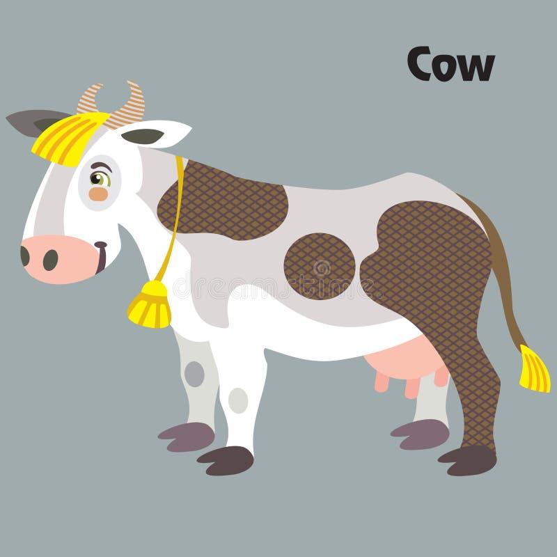 Διανυσματική αγελάδα κινούμενων σχεδίων απεικόνιση αποθεμάτων