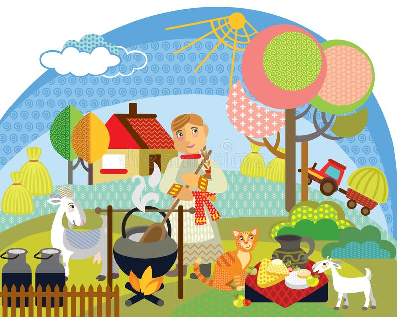 Διανυσματική αγροτική εικόνα 5 διανυσματική απεικόνιση