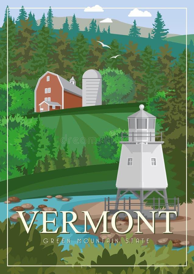 Διανυσματική αμερικανική αφίσα του Βερμόντ Απεικόνιση ΑΜΕΡΙΚΑΝΙΚΟΥ ταξιδιού Ζωηρόχρωμη ευχετήρια κάρτα των Ηνωμένων Πολιτειών της απεικόνιση αποθεμάτων