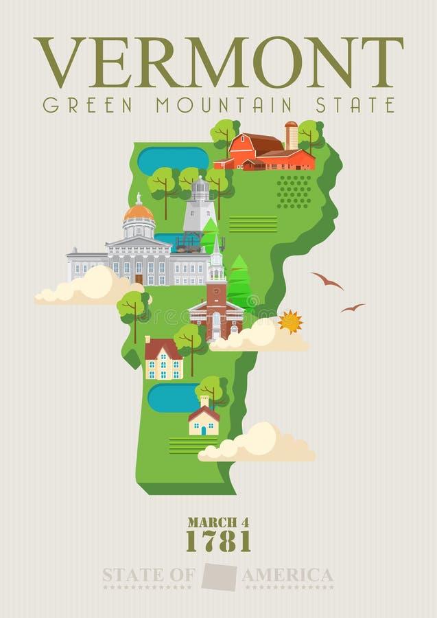 Διανυσματική αμερικανική αφίσα του Βερμόντ Απεικόνιση ΑΜΕΡΙΚΑΝΙΚΟΥ ταξιδιού Κάρτα των Ηνωμένων Πολιτειών της Αμερικής Πόλη με το  απεικόνιση αποθεμάτων