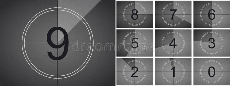 Διανυσματική αναδρομική οθόνη κινηματογράφων αντίστροφης μέτρησης κινηματογράφων διανυσματική απεικόνιση