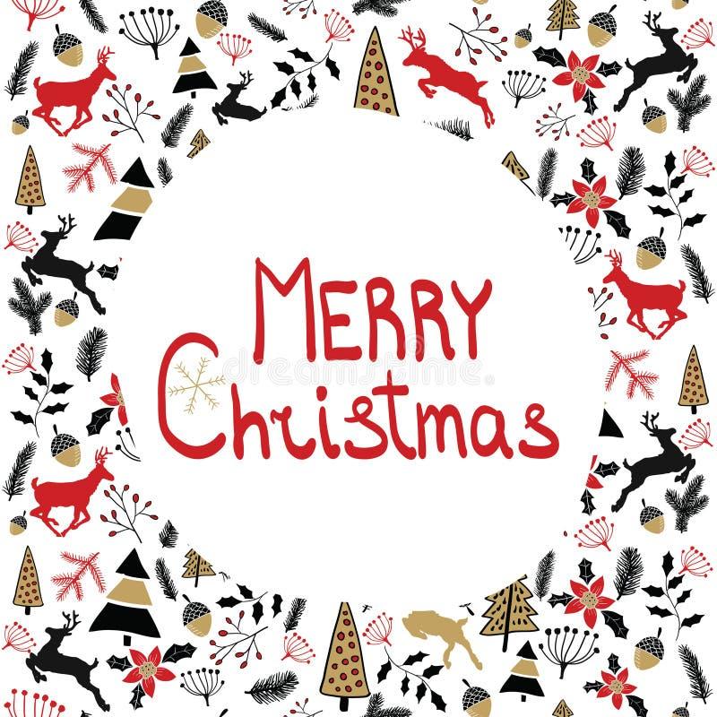 Διανυσματική ανασκόπηση απεικόνιση Χριστουγέννων εύθυμη πρόσθετες διακοπές μορφής καρτών Νέα παραμονή 2017 έτους ` s Ελάφια στοκ εικόνες με δικαίωμα ελεύθερης χρήσης