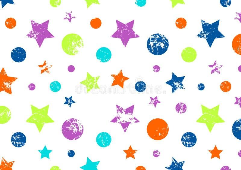 Διανυσματική ανασκόπηση Δημιουργικό γεωμετρικό ζωηρόχρωμο σχέδιο με τα αστέρια και τους κύκλους διανυσματική απεικόνιση