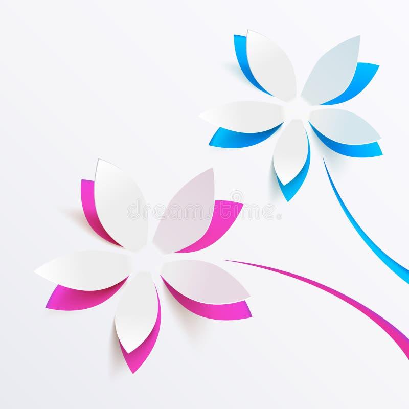 Διανυσματική ανασκόπηση ευχετήριων καρτών με τα λουλούδια εγγράφου διανυσματική απεικόνιση