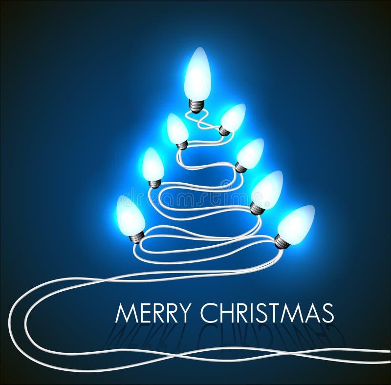 Διανυσματική ανασκόπηση με το χριστουγεννιάτικο δέντρο και τα φω'τα ελεύθερη απεικόνιση δικαιώματος