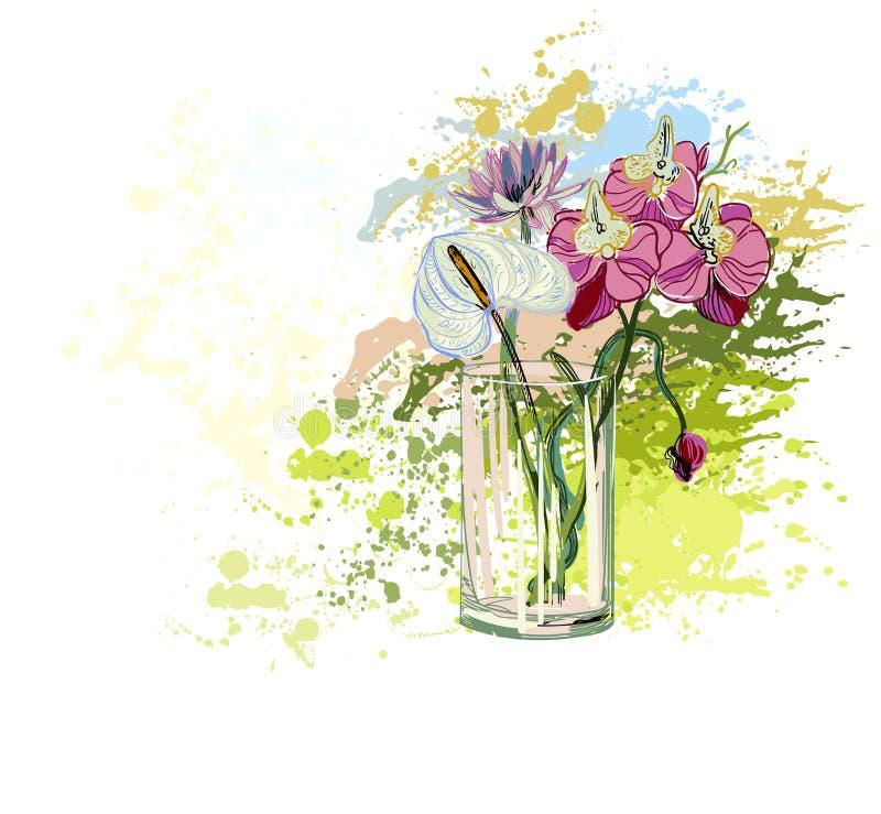 Διανυσματική ανθοδέσμη γυαλιού βάζων υποβάθρου λουλουδιών ζωηρόχρωμη ελεύθερη απεικόνιση δικαιώματος