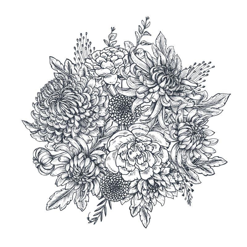 Διανυσματική ανθοδέσμη με συρμένα τα χέρι λουλούδια χρυσάνθεμων ελεύθερη απεικόνιση δικαιώματος