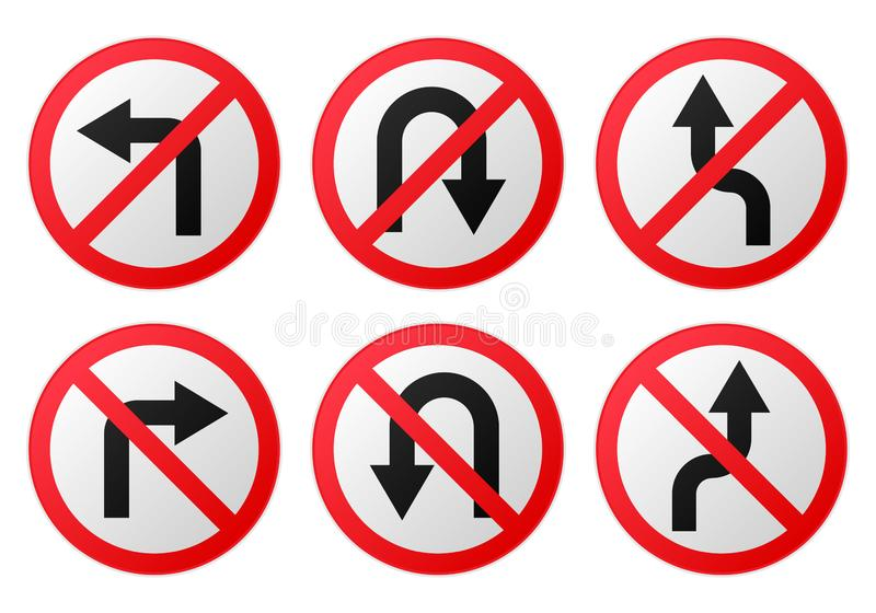 Διανυσματική απαγόρευση οδικών σημαδιών στιλπνή διανυσματική απεικόνιση